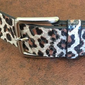 WCM New York animal print embossed leather belt, M